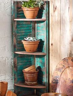 DIY PLANT STAND IDEAS FOR AN OUTDOOR AND INDOOR DECORATION - Unique Diy Plant Stand Ideas To Fill Your Home With Greenery #DIY #PlantStand #Ideas #Plant #stand #Green #Garden Shutter Shelf, Shutter Decor, Shutter Colors, Old Shutters Decor, Painting Shutters, Bedroom Shutters, Vintage Shutters, Corner Plant Shelf, Plant Shelves