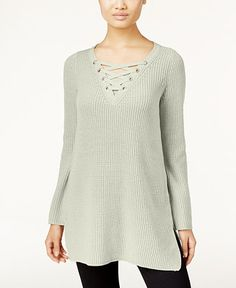 Style & Co. Petite Lace-Up Tunic Sweater, Only at Macy's - Sweaters - Women - Macy's