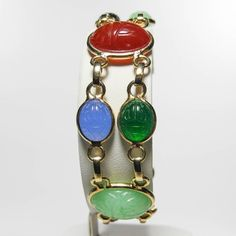 47920567e Vintage Gold Tone Lucite Scarab Beetle Double Link Bracelet, Scarab Beetle  Plastic Multi Colored Cabachons
