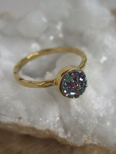 NEW MORE COLORS & FINISHES! Tiny Peacock Druzy Ring Titanium Drusy Quartz 18K Gold Vermeil Hammered Band