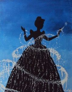 silouette of Cinderella with fairy magic dust