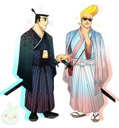 "ponkuno:  "" Johnny Bravo & Samurai Jack - Johnny/Jack  I really wanted to draw these two with both western and eastern influenced style fashion~  The samurai fashion is based on wedding style male kimonos and the dapper fashion is based on northwestern..."