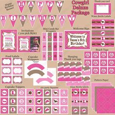 Cowgirl birthday party PRINTABLES