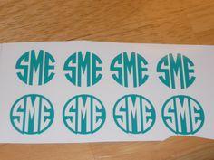Set of 4 Vinyl Monogram Decals - 1 inch. $4.50, via Etsy.