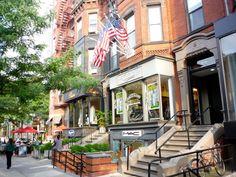 Photo of Newbury Street brownstones and shops in #Boston. http://visitingnewengland.com/Newbury-Street-Boston.html