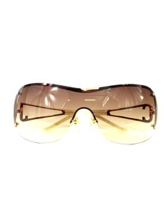 27a5b0b39e0 CAVALLI Women Gold Beige Gradient Lens Crystal Logo Semi Rimless Sunglasses