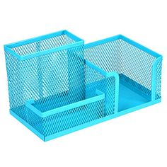 Homecube Space Saving Mesh Office Supplies Desk Organizers/Pen Holder/Cell Phone Holder/Cosmetic Holder 3 Sorter Sections Blue