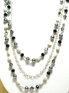 Multi Strand Necklace.   Long Necklace.  Grey Pearls.  Black Crystals.   Jasper stones.  JemstoneZ. Jem StoneZ