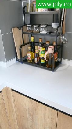 spice rack ideas counter top Spice Rack Organization, Spice Rack Organiser, Kitchen Organization, Kitchen Shelves, Kitchen Storage, Kitchen Cabinets, Magnetic Spice Jars, Kitchen Fixtures, Modern Kitchen Design