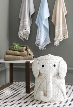 Make laundry day fun for the whole family with this affordable Home Decorators Collection Animal Laundry Hamper in White. Linen Cabinets, Bath Sheets, Laundry Hamper, Turkish Towels, Muted Colors, Home Hacks, Beautiful Bathrooms, Decoration, Bath Towels