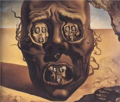 The Face of War - Salvador Dali (1940)  Well? My Say from Origin of Picture. Example of how I was feeling from the Sunny Hot Weather in all my Life. I don't! Do Not like it, or above 80 Degrees!