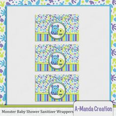 Monsters Inc Hand Sanitizer Wrappers to coordinate with the Little Monster Baby Shower printable set