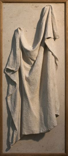 Ancaster limestone with oak frame High relief or Haute Relief Carving Wall Panel casting in Bronze/Copper #sculpture by #sculptor Bobbie Fennick titled: 'Drapery Study (Carved stone Wall Panel Carving statue sculpture)' #art