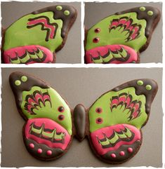 Marbled Royal Icing Butterfly Cookie Tutorial Tutorial on Cake Central