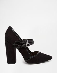 Image 2 ofNew Look Double Strap Pointed Court Shoe