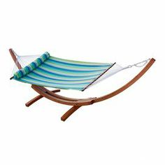 """Striped Sunbrella hammock with a matching bolster pillow.   Product: HammockConstruction Material: SunbrellaColor: Ocean breezeFeatures: Bolster pillow includedFade and mildew resistantDimensions: 55"""" x 90"""" Note: Stand not included"""