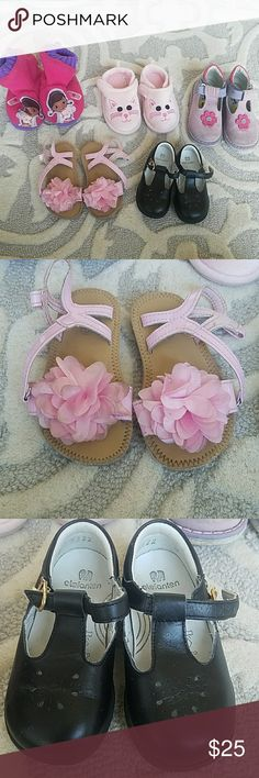 Lot of shoes 2 pairs of slippers (cat-like new). Flower high tops amd pink sandals- some wear (shown). Black dress shoes - EUC (Elefanten). Shoes