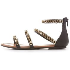 Charlotte Russe Chainlink Strappy Gladiator Sandals ($12) ❤ liked on Polyvore featuring shoes, sandals, black, black strappy shoes, zipper sandals, strappy sandals, black strappy sandals and strap sandals