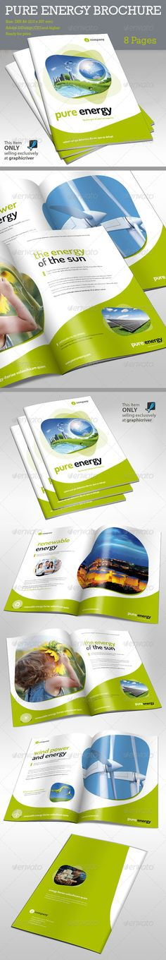 Brochure Pure Energy #GraphicRiver Energy and enviroment. This is a modern and powerful template for a Brochure. Perfect for PR agency or other business promotion. 8 pages possibility of creating many unique spreads. FEATURES Adobe InDesign CS4 and higher) A4 ISO 210×297 mm (8.27×11.7 inches) + bleeds 4 mm, (4x A4 Pages) Ready for print (300 DPI CMYK) Organized Layers Paragraph Style INCLUDED 1 *.indd files with main files 1 *.idml files with main files 1 *.inx files with m...