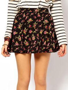 ASOS Skater Skirt in Ditsy Floral Print, $27.15