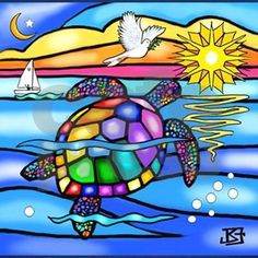 A colorful stained glass style turtle swims through the colorful ribbons of water to meet his friends for a game of tag. Sea Turtle Art, Sea Turtle Quilts, Sea Turtles, Stained Glass Cookies, Artist And Craftsman, Turtle Painting, Rock Painting, Stained Glass Patterns, Whimsical Art