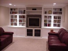 Built-in TV Cabinet With Glass Doors - this one is nice too, minus the glass doors on the shelves @DeDe Styrsky