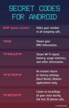 Codes For Android The for There are the most insane key combinations that will give you access to the all hidden functions of your included.Android Android may refer to: Android Secret Codes, Android Codes, Iphone Codes, Iphone Secret Codes, Simple Life Hacks, Useful Life Hacks, Telefon Codes, Vie Motivation, Life Hacks