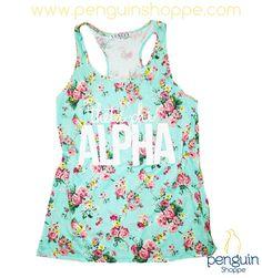 Custom Theta Phi Alpha Floral Tank!! Start a design with Penguin Shoppe today!