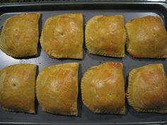 This is a great recipe for authentic tasting Jamaican Patties; delicious golden pastry filled with curried beef and spices.    The filling for this recipe can easily be modified if you prefer chicken or vegetable patties...the possibilities are...