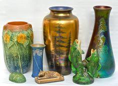 American Art Pottery, Roseville, Grueby, Rookwood, Weller and Sicard - Weller.  Circa 1905 to 1925