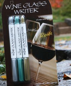 Wine glass pen markers - never lose your glass again! Found at Sorelle boutique.