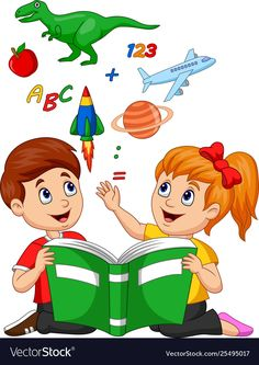 Cartoon kids reading book education concept vector image on VectorStock Kids Reading Books, School Frame, School Murals, School Painting, School Clipart, School Decorations, Cartoon Kids, Books To Read, Preschool