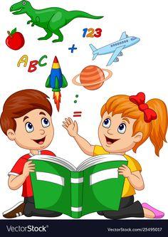 Cartoon kids reading book education concept vector image on VectorStock School Cartoon, Cartoon Kids, Reading Cartoon, Kids Reading Books, School Frame, School Murals, School Painting, School Clipart, School Decorations