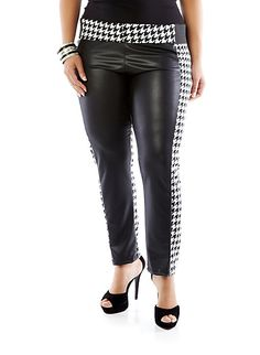 f104e177f89 Plus-Size Houndstooth and Leather-Look Stretch Pants