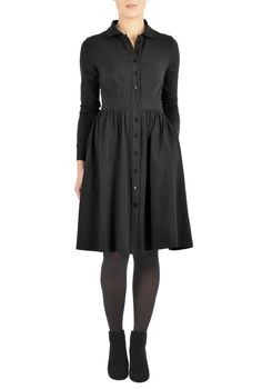 Our cotton knit shirtdress is styled with linear darts at the bodice and ruched pleating at the full skirt for an universally flattering silhouette.