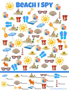 Beach I Spy Game - free printable search and find game for kids! Print one out for the car trip!