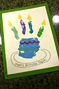 Birthday Cake This Blog Linked From Here This Blog Linked From Here Tuesday, August 23, 2011 DIY: Handprint Inspired Birthday Card I saw this card on Pinterest and I had to give it a try. Darn you Pinterest and all the projects you force me to attempt. Take some craft paint. I suppose finger paint would work (and maybe it would wash off skin easier!)