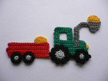 Traktor mit Frontlader - Häkelapplikation