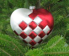 Flettet Hjerte, Rød Mat, Hvid Mat, Sølv glimmer