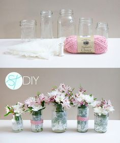 Sutiles floreros con encaje y detalle rosa / http://somethingturquoise.com