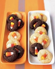 Right after removing the cookies from the oven, be sure to press in the candies.
