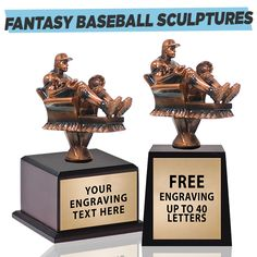 Looking For Fantasy Football Awards Or Fantasy Baseball Awards? We Have The Perfect Fantasy Sport Sculptures For Your Fantasy League! Fantasy Football App, Fantasy Baseball, Football Awards, Sports Awards, Clemson Baseball, Football Shirts, Baseball Trophies, Baseball Sunglasses, Fantasy League