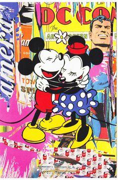 Mr Brainwash Mickey Mouse & Minnie postcard popart banksy superman warhol disney #PopArt