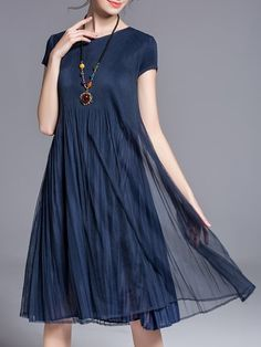 Shop Midi Dresses - Dark Blue Pleated Casual Midi Dress online. Discover unique designers fashion at StyleWe.com.