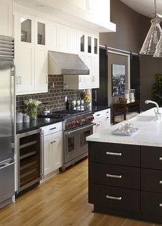 Kitchen Subway Tile Backsplash Glass Neutral Medium Dark Cabinets Design, Pictures, Remodel, Decor and Ideas - page 2
