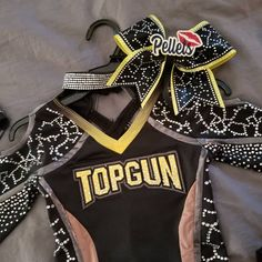 are rocking their new bows this weekend, each team with personalized centers. Top Gun, Cheer Bows, Cheerleading, 3d, Bags, Instagram, Fashion, Handbags, Moda