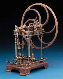 A mid-19th Century brass and ferrous metal model single cylinder overcrank engine,
