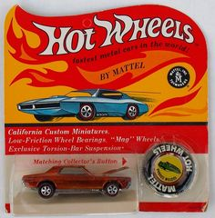 Vintage 1968 Hot Wheels Redline Orange Custom Cougar MOC BP Blister #Mattel