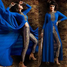 IMMORTAL IMAGE: Check out our new arrival 'Royal Blue and Brocade Pant Style Anarkali' - available for $145 USD including stitching + worldwide shipping! * Slit can be made lower/covered upon request if you do not wish to have the midriff exposed on this piece.