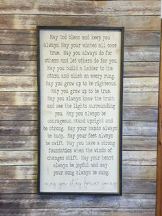 ON SALE - Originally 175.00 The featured listing is 24x48 size with a cream background, distressed gray lettering & distressed charcoal frame. You can select your frame color & background color form the dropdown menu. I love this song and it would be the perfect sign to have hanging in a nursery, childs room, playroom or anywhere in your home. We also have this sign in the horizontal format....see listing link below! https://www.etsy.com/listing/239908900/for...